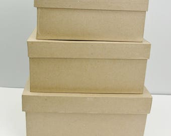 Rectangle Paper mache stacking boxes graduated sizes set of 3