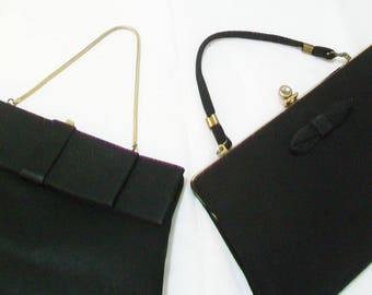 2 Purses for the Price of 1, vintage, black, convert to clutch bags