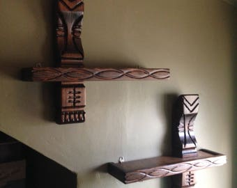 Pair of handmade carved wood witco style tiki shelves