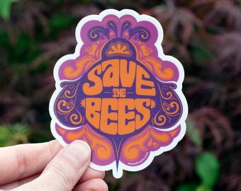 SAVE THE BEES Sticker : Bee Campaign, Honeybees, Bee Stickers, Honey Stickers, Bee Decals, Bee Farm, Hippie Stickers, Trippy Stickers