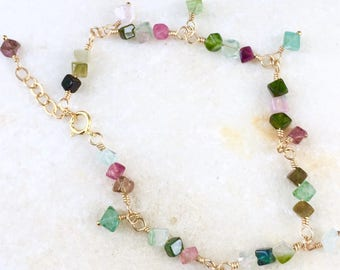 Watermelon Tourmaline Bracelet  Tourmaline Bracelet  Colorful Gemstones Natures Splendour Jewelry