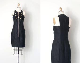 vintage 1980s dress / 80s fitted dress / black linen minidress | small s