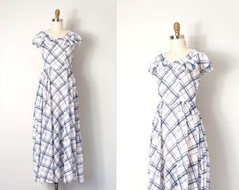 vintage late 1930s dress | blue and white checkered plaid 30s maxi dress | cotton voile | (extra small xs)
