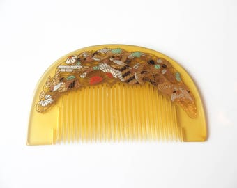 Vintage Kanzashi Kushi Comb Yellow With Delicate Japanese Design