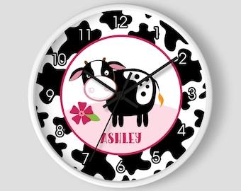 Dairy Cow Pink Farm Theme Barnyard Cow Nursery Wall Clock / Dairy Farmers / Holstein Cows