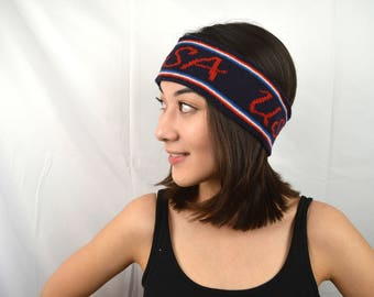 Vintage 80s Red White Blue USA Ear Warmer Winter Knit Hat