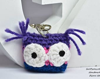 Owl, stuffed owl, Stuffed toy, Owl keychain, Purple, Pink, crocheted stuffed animals, crochet owl purse charm, owl bag charm, mirror dangler