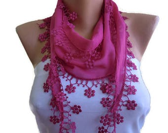 Lipstick Pink cotton lace scarf-pink cotton skinny scarf with lace-Buy 3,get 1 free-Scarflette with lace trim-Skinny scarf headband-