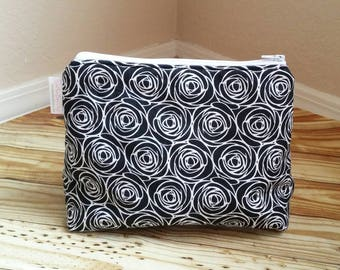 Black Rose padded makeup travel case, make up bag, makeup pouch*Ready to ship*