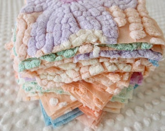 Vintage Chenille Fabric Quilt Squares - 60 - 6 inch squares peach & pastels, six of each - 500-182