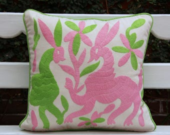 flawed Pink and lime  Otomi Sham