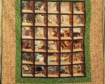 SALE Deer in the Woods Twin Size Quilt