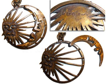 Rebajes Articulated Sun Moon Copper Necklace. Vintage Modernist Celestial Huge Pivoting Necklace.  Signed Circa 1940s NYC Authentic Vintage