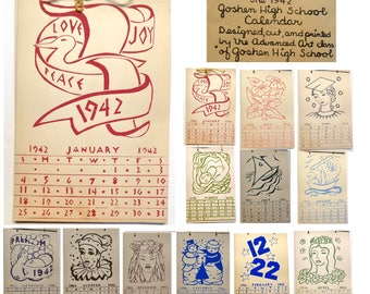1942 Calendar made by Goshen Indiana Advanced Art Students Block Prints. WWII Era. Beautiful Woodcut Prints.