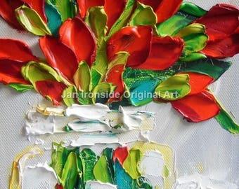 Gift for her, Tulip Oil Painting  Palette Knife Oil  Painting  red tulips impasto original art