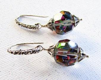 Vintage Swarovski Rainbow AB Crystal Earrings on Etsy by apurplepalm