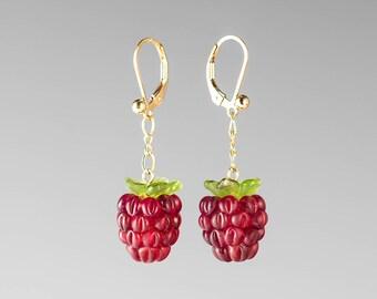 Glass Raspberry Earrings Lampwork bead fruit jewelry hand blown glass art birthday gift, anniversary gift for gardener, cook, chef