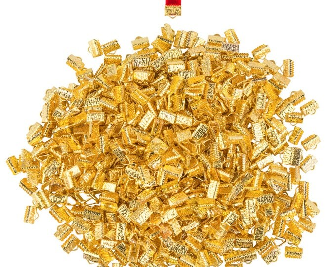 500 pieces. 10mm or 3/8 inch Gold Ribbon Clamp End Crimps - with or without loop - Artisan Series