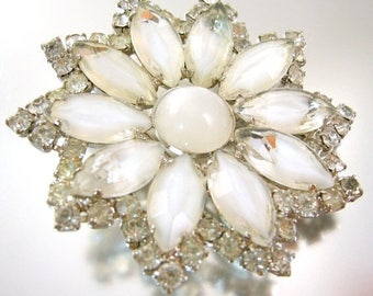 45% off Sale White Givre Glass and Rhinestone Flower Brooch