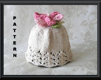 Baby Hat Pattern Knitted Hat Pattern Instant Download Baby Hat Pattern Infant Baby Hat Infant Hat Pattern Flower Hat Pattern: FLOWER GIRL