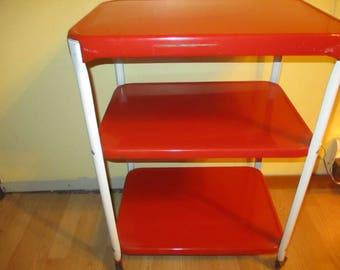 Red Cosco Kitchen Cart Vintage Rolling bar Trolley  Metal  Shipped Unassembled