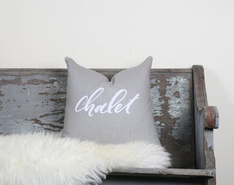 "18""x18"" Light Gray Linen with White Ink ""Chalet"" Pillow Cover"
