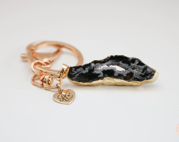 Robjant Couture Natural Druzy Crystal Geode Gold Plated Keyring.
