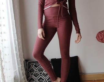 high rise leggings in cotton french terry with foldover yoke - WAFFY loungerie and loungewear range - made to order