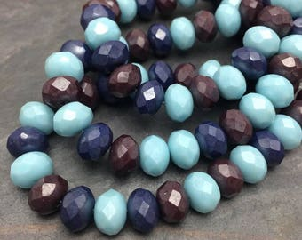 Indian Blue Corn Mix 6x8mm Rondelles, 8x6mm,25PC, Dream Girl Beads, Czech Glass Beads