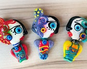 Reserved & Sold for Debie - Wilma and her 2 Sisters  *Beautiful faces/ Freak heads*- Unique focal Beads -  Glass Art by Michou P. Anderson