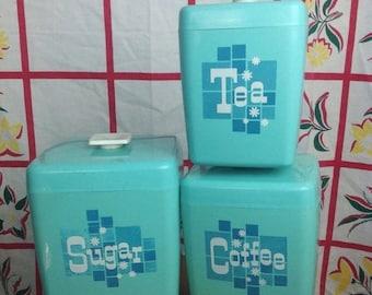 SALE Vintage 3 piece aqua kitchen canister set. Sugar, coffee, & tea. Mid century modern. Mid mod. Cooking baking chef.