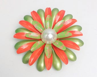 "Vintage Orange Green Enamel Flower Brooch Extra Large Splatter Paint Pearl Center Vtg Floral Pin 3"" Wide VGUC"