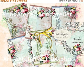 SALE - 30%OFF - Roses Heart - Vintage ATC Cards - Victorian Backgrounds - Digital Tags - Download Collage Sheet