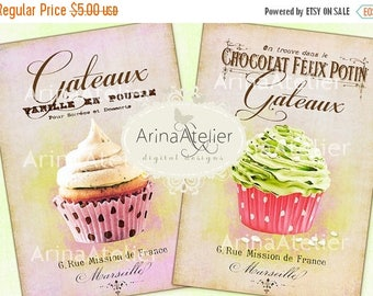 SALE - 30%OFF - Shabby Chic Patisserie set no.4 - Large Images - Backgrounds - 5x7 inch - Digital Print - Ephemera Sheet - Tote, Bags, t-shi