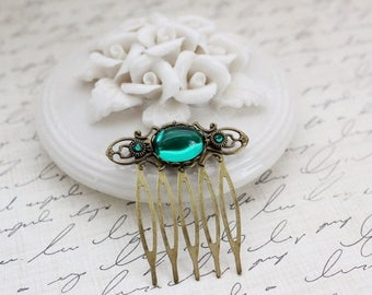 VACATION SALE- Emerald Teal Small Hair Comb in Antique Brass