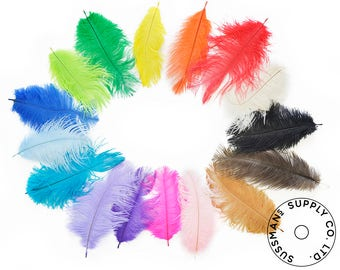 "Ostrich Feathers - Wholesale Wedding Feathers Ostrich Drab Plumes - Choose your Colors  (6-8"")"