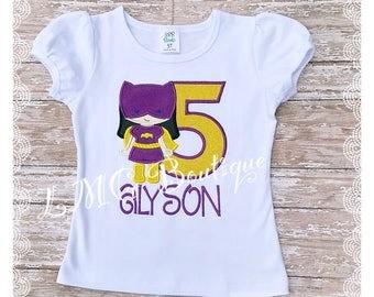 Personalized Superhero shirt - Batgirl Appliqué Shirt with number- Batgirl birthday shirt - Bat girl shirt  - Superhero Birthday