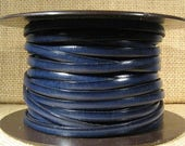 5mm Flat Leather - Dark Navy Blue - 5F18 - Choose Your Length