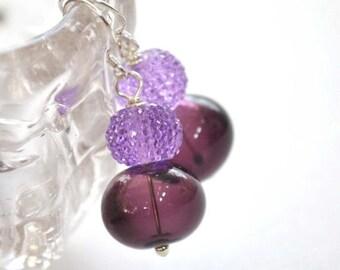 SALE Purple Earrings, Glass Bead Earrings, Lampwork Jewelry, Plum Sugared Earrings
