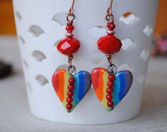 Heart Earrings, Rainbow Earrings, Ceramic Heart Earrings, Valentine's Day Earrings, Colorful Earrings, Red Earrings, Sweetheart Gift