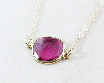 ON SALE Cranberry Pink Tourmaline Necklace - Tourmaline Pendant - 14K Gf