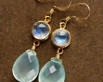 ON SALE Aqua Chalcedony and Rainbow Moonstone Earrings - Teardrop Earrings - 14KT Gold Fill