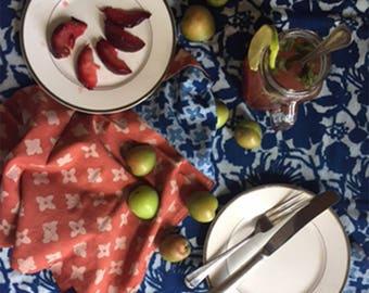 blue TABLECLOTH indigo cotton indian block print rectangular bohemian boho tabletop home decor kitchen dining linens blue navy - Floral