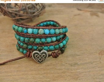 SALE 60% OFF Celtic Heart Turquoise Beaded Leather Wrap Bracelet
