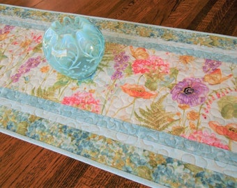 Floral Quilted Table Runner with Butterflies and Hydrangeas, Blue Purple Pink and Green, Quilted Table Topper, Bedroom Decor, Gift for Her