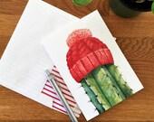 Greeting Card w/Envelope - Saguaro Cactus Watercolor  - Red Knit Beanie - Desert Art - Arizona Desert Christmas