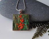 Textured Square Abstract Painted Pendant in Green and Orange