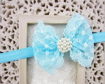 Sky Blue / Aqua Lace Hair Bow w/ Pearls Headband or Hair Clip, The Sophia, Baby Headband, Infant Child Girls Headband