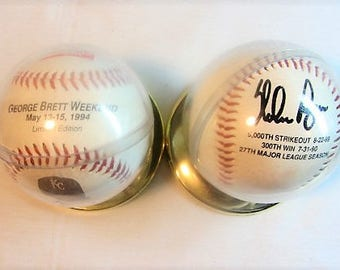 NOLAN RYAN Signed Ball 5000th Strick Out 8-22-89 300Th Win 7-31-90 and George Brett Weekend KC Royals Price Chopper Coca Cola Ball