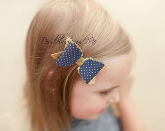 Navy And Gold Hair Bow, Girl's Navy Bow, Leather Hair Bow, Toddler Bow, Girls, Glitter Hair Bow, Flower Girl Bow, Wedding Hair Bow, Navy Bow